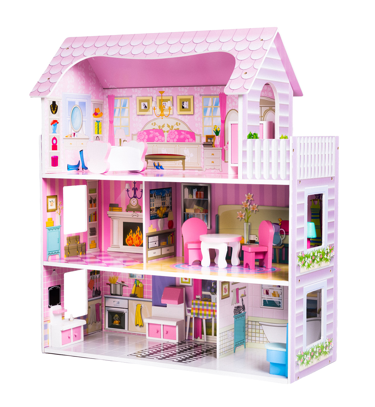 Modern 3 Storey Dolls House Complete With 9 Items Of Furniture