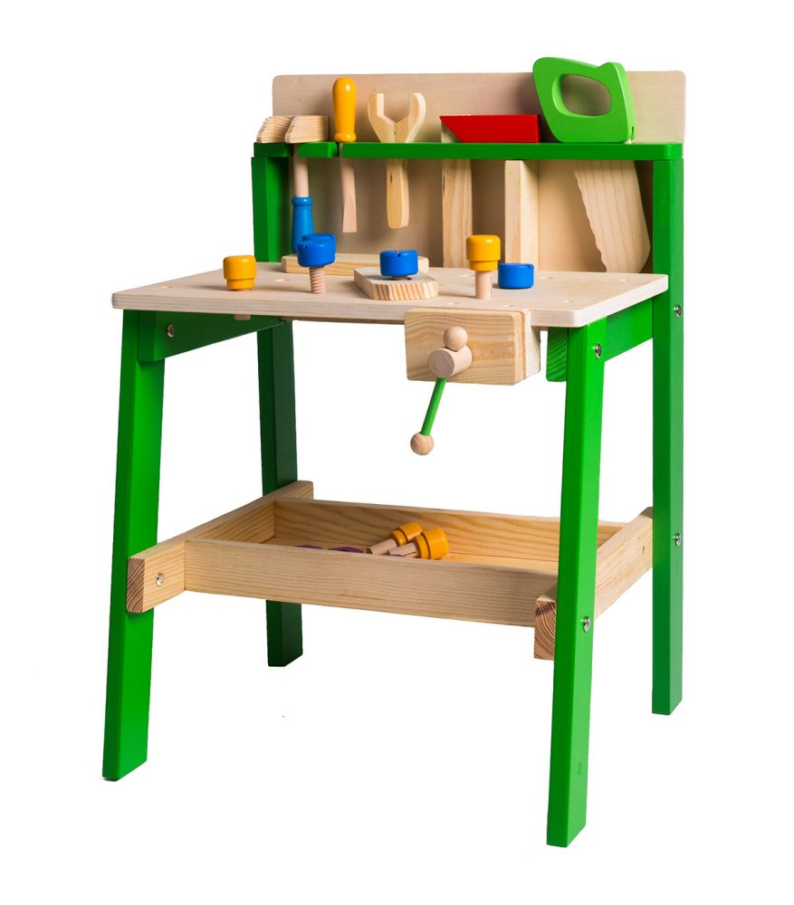 Two Tier Solid Wooden Tool Bench Complete With 17 Accessories