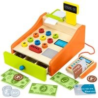 Childrens cash register with card machine  cards and money  toy till