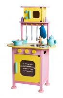Wooden Play Kitchen complete with 14 kitchen utensils and play food accessories