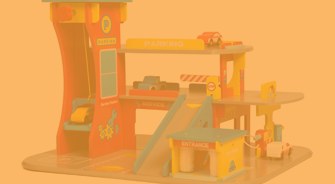 Wooden Toy Garage & Cars